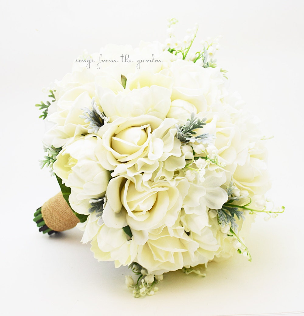 Winter Wedding Grey & White Bridal Bouquet Real Touch Roses
