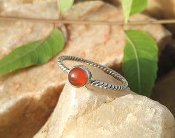 Natural Carnelian Sterling Silver Twisted Band Handmade Ring - 925 Sterling Silver