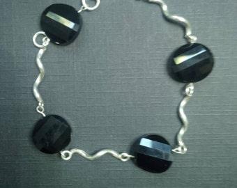 Sterling Silver Bracelet for Women with Black Crystal Carved