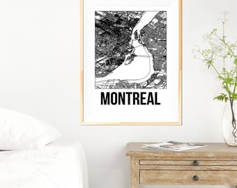 Montreal City Map Print - Black and White Minimalist City Map - Montreal Map - Montreal Art Print - Many Sizes/Colours Available