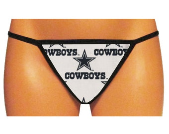 Dallas Cowboys Thong/G-String (White - Made From 100% Cotton Licensed NFL Fabric)