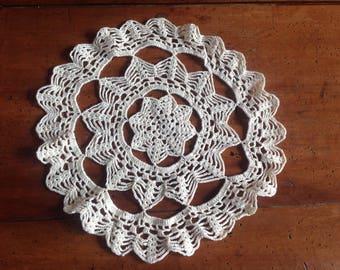 Crochet round doily, vintage