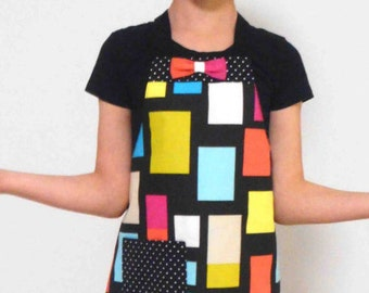 Little Girl Lined Apron - 'Pop Art'