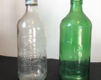 1970s Rare Glass Pepsi and Mountain Dew 16 oz empty Bottles