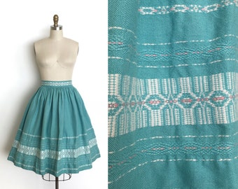 vintage 1950s skirt | 50s woven cotton skirt