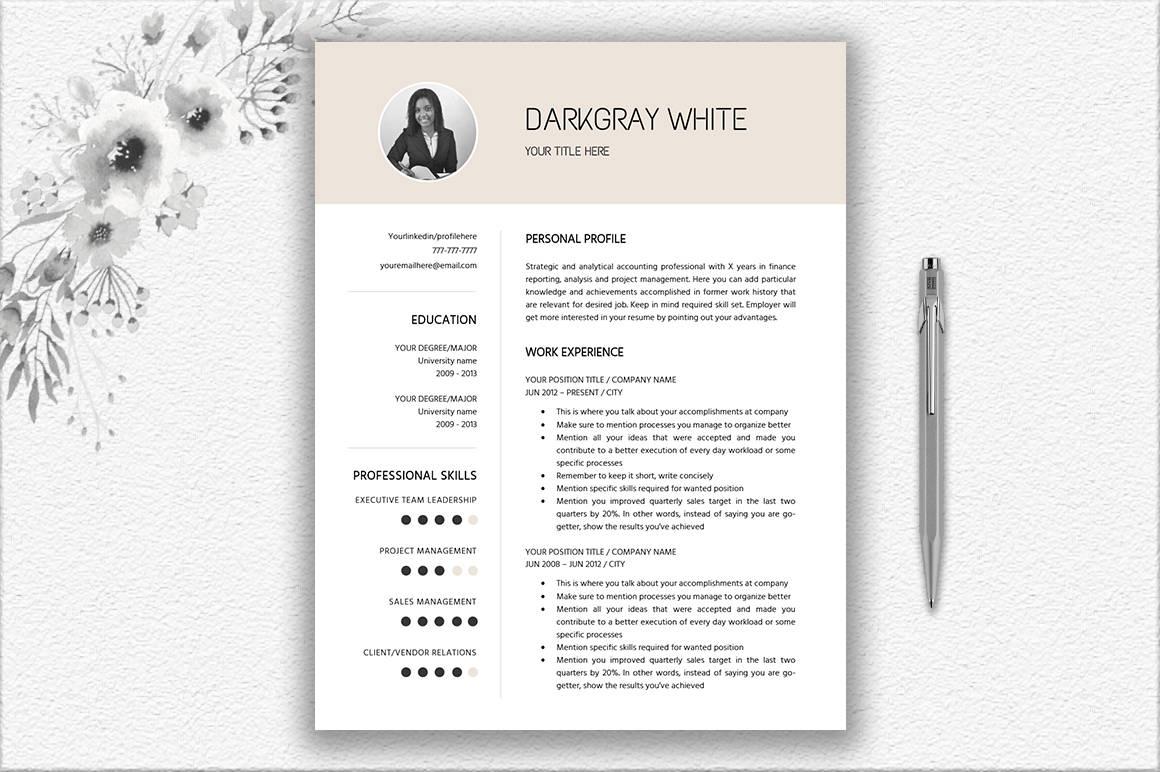 Elegante currículum con foto diseño de carta de presentación