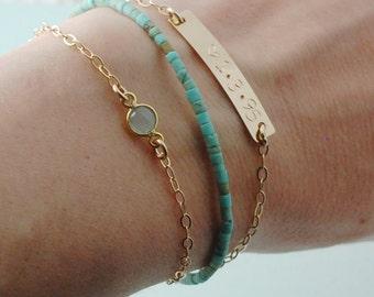 14K gold fill layering bracelet, Chalcedony gold bracelet, simple delicate bracelet