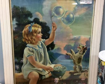 Mabel Rollins Print Blowing Bubbles