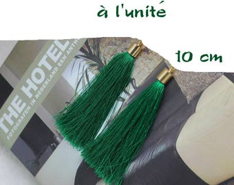 Silk thread tassel pendant individually green tree gold 10 cm