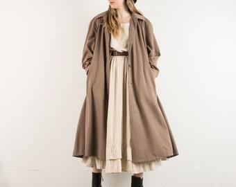VINTAGE BEIGE OVERSIZED Swing Coat / S / hipster jacket coat womens outerwear overcoat oversized coat trench coat