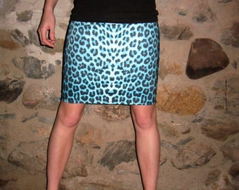 Turquoise Leopard Skirt Small by Vicmes Clothing