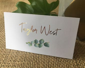 Botanic Foiled Personalised | Personalized Place Cards | Tent Cards | Wedding | Botany | Name Tags | Metallic | Garden | Leaf | Greenery