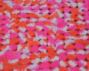 1970's  Vintage Neon  Afghan Blanket