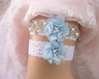 Garter, Blue Garter Wedding Garter /Lace Garter Set/Something Blue Garter Set/  Rhinestone Garter / Crystal Garter / Garter Belt / Garder