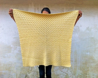 Vintage Yellow Baby Blanket/Small Hand Knit Blanket/Vintage Blankets/Handmade Cotton Knitted Throw/Nursery Decor/Vintage Baby Shower Gift