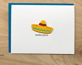 Thank You Card, Cute Thank You Card, Muchas Gracias, Cinco De Mayo Thank You Card, Mexican Theme Party Thank You Card, Thank You Notecards