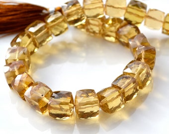 Whiskey Quartz 9mm CUbe Beads   2