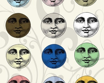 Moon Face Collage Sheet 1mfc