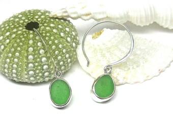 Sea Glass Hoop Earrings   Sea Glass Earrings   Beach Glass Earrings   Green Bezel Set Earrings   Sterling Silver Hoop Earrings   Seaglass