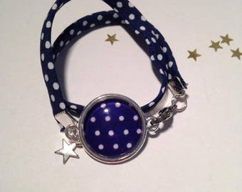 Jewelry Bracelets Support Cabochon & A Polka dot Navy Blue & white fabric charms