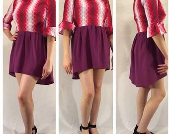 Pink & Mauve Mod Mini Party Dress Size 14
