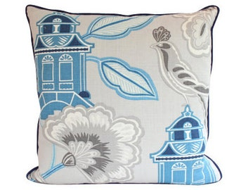 Designer Chinoiserie Pillow Cover with Piping, Blue and Grey Linen