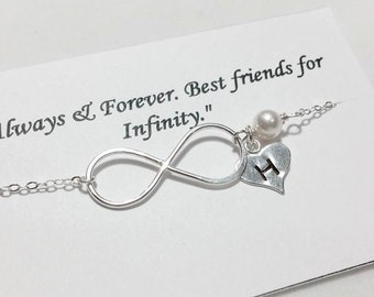 Infinity and Initial Sterling Silver Bracelet - Mother's Gift, BFF Bracelet - Always & Forever Best Friend for Infinity