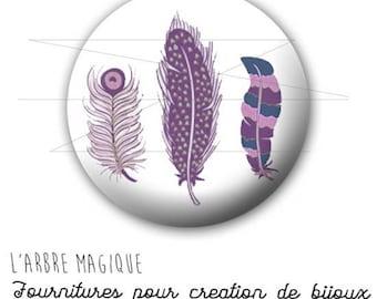 Cabochon 25 mm fancy feather BOHO purple ref 1591