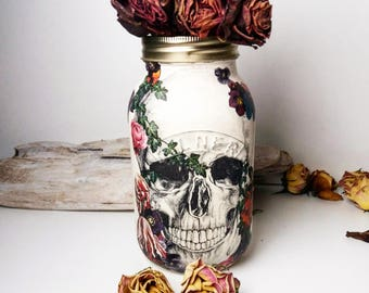 Chalk painted skull mason jar