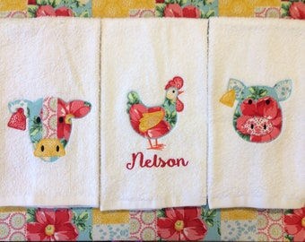 Farm Kitchen Towels- chickens, cows, pigs, made to match, farmhouse, country