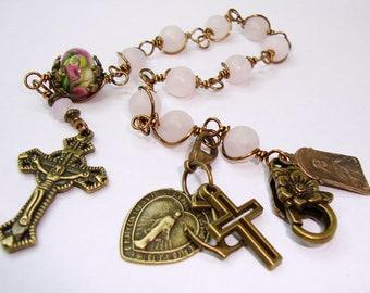 Catholic rosary,St. Therese,catholic rosary bracelet,rose frosted quartz,crucifix and miraculous medal, faith hope charity charmsindylin