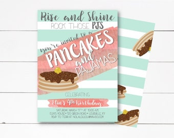 Pancakes and Pajamas Invitation, Pancake Party, Pancakes and Pajamas Birthday, Pancake Party Invitation, Girl Birthday Invite, DIY/Printed