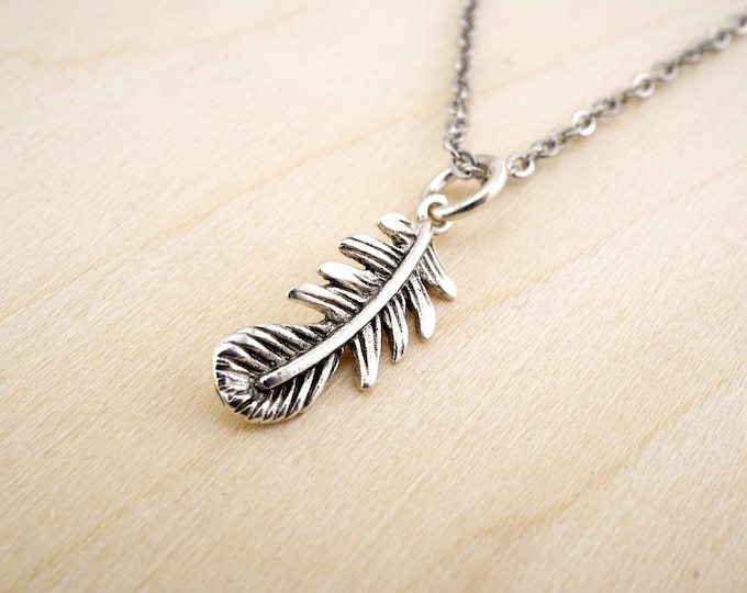 Sterling Silver Feather Necklace - Birds of a feather - Sterling Silver Feather Pendant - Feather jewelry - Small Feather Necklace