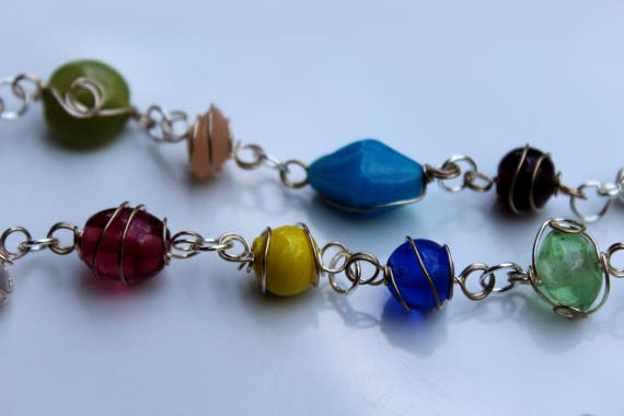 Mother's Day Gift Idea, Colorful Wire Wrapped Glass Bead Necklace, No Clasp Over the Head Stone Link Necklace