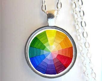 Color Wheel Pendant, Art Necklace, Artist Gift, Art Teacher Gift