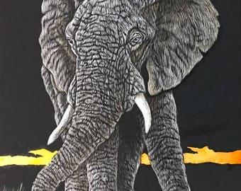 Jumbo, African Elephant, original colored scratchboard.