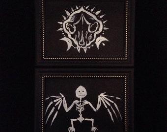Skelett Fledermaus oder Schädel Malerei