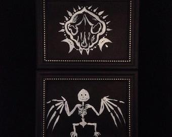Skeleton bat or Skull painting