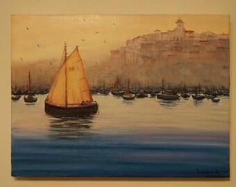 Morning Bay oil painting sea ocean morning painting