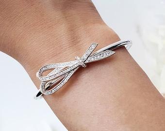Bracelet ruban argent cristal arc