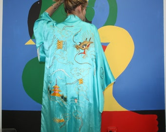 Heavy Thread Dragon Embroidered Silk Kimono Robe