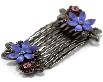 Hand Made Hair Jewelry Pair combs swarovski crystal flower pattern, Puple(SO2098-pp)