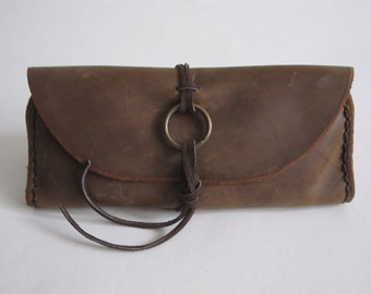 Leather Tobacco Pouch, Stash Bag, Pipe Bag, Smoking Accessories, Hand Stitched, Oil Tanned Leather, Leather Pipe Pouch