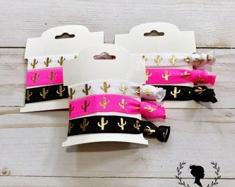 Pink, White and Black Cactus Hair Tie Set