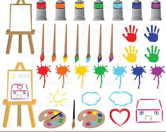 Painting Clipart, Paint Clipart, Art and Craft Clipart, Paint Splatter Clipart, Paintbrush Clipart, Kids Doodles Clipart, Paint Clip Art