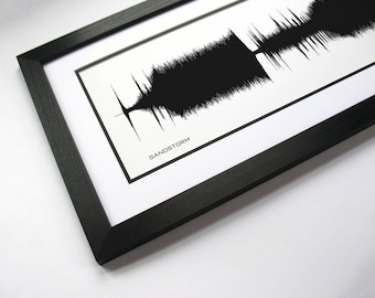 Sandstorm - Sound Wave Art Print and Waveform Wall Poster - Techno Music Art - DJ Gift Idea, Dance Music