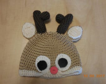 Reindeer baby hat, crocheted baby hat, crocheted reindeer hat, crocheted baby reindeer hat