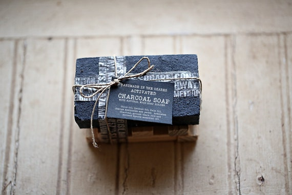 ACTIVATED CHARCOAL SOAP  Bar Only- No holder-   Made In The OZarkS  Black Charcoal Soap, Detoxifying Soap, Detox Soap, Rustic Gift, Man Gift