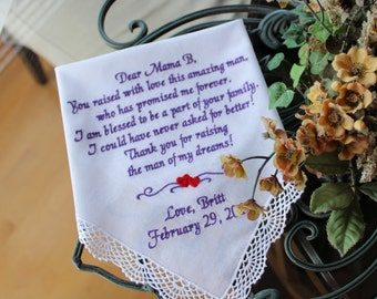 Mother of The Groom wedding Handkerchief, hanky,embroidered, You raised with Love this AMAZING MAN, Wedding Gift, Custom Hanky -  LS0F23