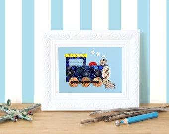 Nursery Trains Decorations Button Art Train Choo Choo Train Baby Shower Gift Nursery Art Baby Boys Train Nursery Transportation Theme Planes